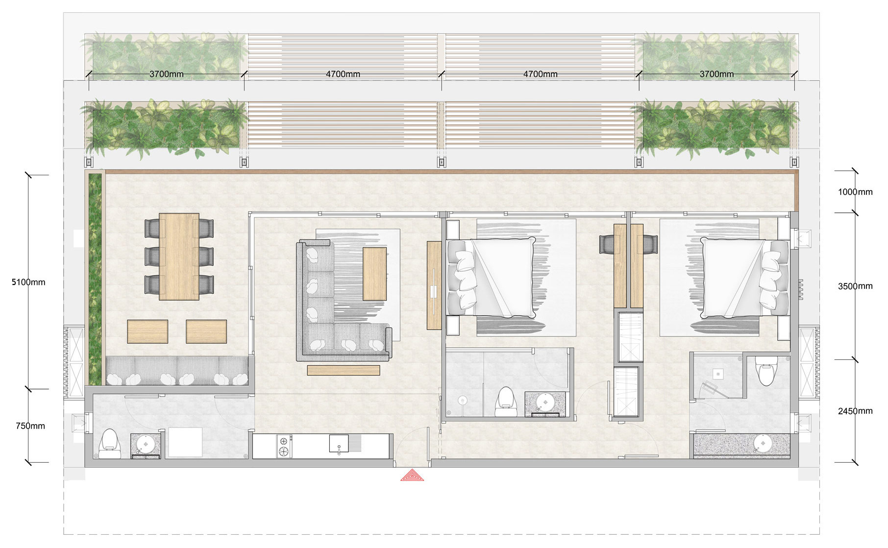 2 Bedroom Penthouse Floor Plan | Bay Apartments by Bay ...